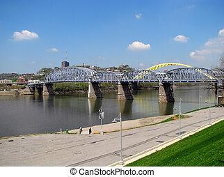 ponts, sur, rivière