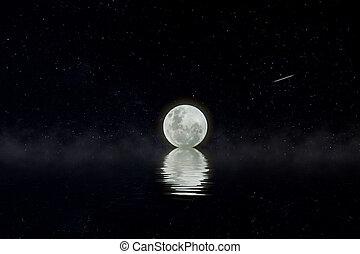 ponurý, plný, night., měsíc