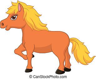 pony, karikatur, pferd, reizend