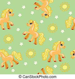 pony, seamless, beschaffenheit, rotes