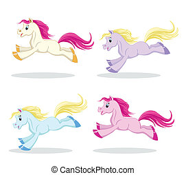 pony set in motion - set of colored pony in motion on a...