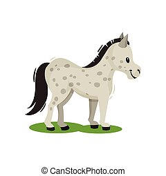 Pony standing on green grass side view. Gray spotted horse with black mane and tail. Mammal animal. Flat vector icon
