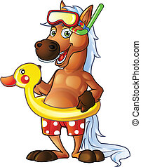 Pony Swim Suit - High Detail Pony Mascot for Your Graphic...