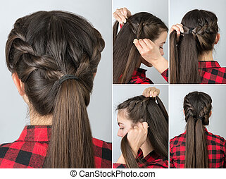 pony tail hairstyle tutorial - simple twisted hairstyle ...
