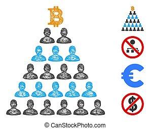 ponzi, vector, malla, bitcoin, tela, pirámide, ilustración