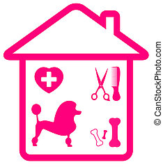 poodle and grooming objects