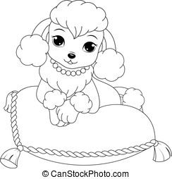 Poodle coloring page - Glamorous poodle coloring page