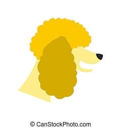 Poodle dog icon, flat style