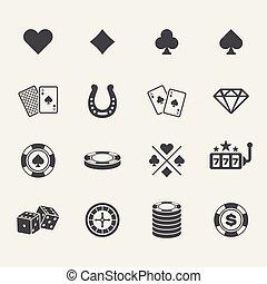 pook, club, en, geluksspelletjes, casino, black , iconen