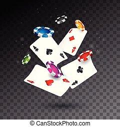 pook, concept, realistisch, casino, illustratie, achtergrond., vector, kaarten, geluksspelletjes, het vallen, frites, transparant, design.