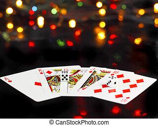 pook dobbelsteen, koninklijk, flesh., cards-, spelend