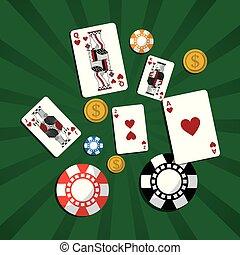 pook, geld, splinter, casino, groene achtergrond, kaarten