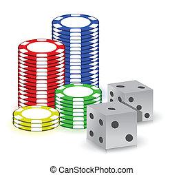 pook, gokkende spaanders, en, set, van, dubbeltjes
