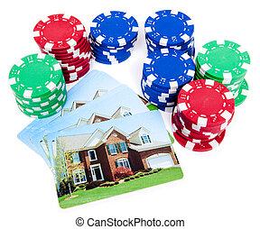pook, hypotheek, woning, foreclosed, frites, weddenschap