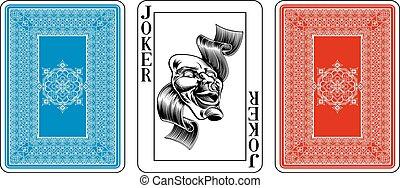 pook, keerzijde, grappenmaker, plus, speelkaart, grootte