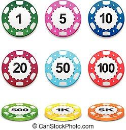 pook, kleur, casino teken, gokkende spaanders, stapel