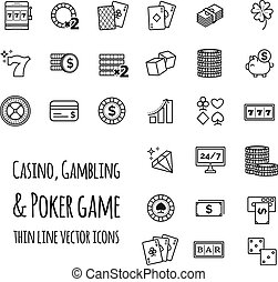 pook, set, iconen, casino, spel, vector, geluksspelletjes