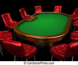 pook, tafel, met, stoelen