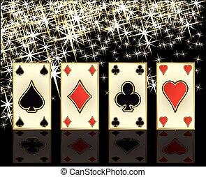 pook, vector, kaarten, casino