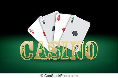 pook, vector, kaarten., casino