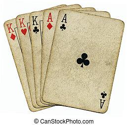 pook, vol huis, op, vrijstaand, azen, white., ouderwetse , kaarten, koningen