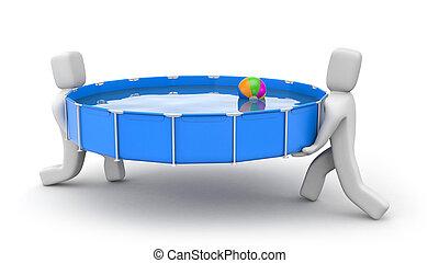 pool., 人々, 得なさい, イラスト, インストールしなさい, 準備ができた, 水泳, summer., 3d