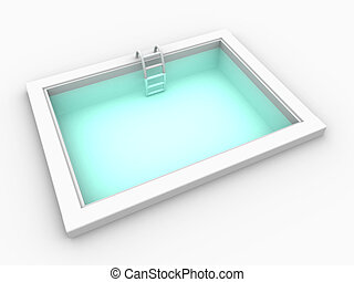 Pool 1 - 3D rendered mini swimming pool. Isolated on white....