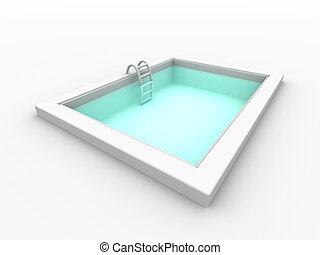 Pool 2 - 3D rendered mini swimming pool. Isolated on white....