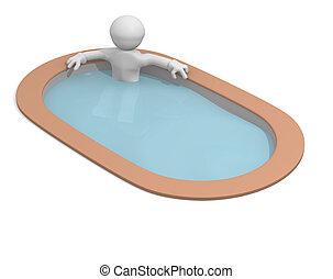 3d man in a luxury pool