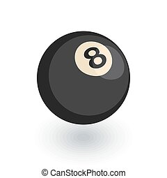 Pool 8 ball, Billiard symbol isometric flat icon. 3d vector