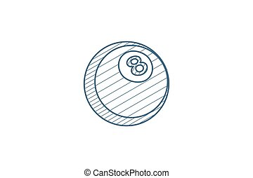 Pool 8 ball, Billiard symbol isometric icon. 3d line art technical drawing. Editable stroke vector