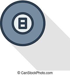 Pool 8 ball, Billiard symbol thin line flat color icon. Linear vector symbol. Colorful long shadow design.