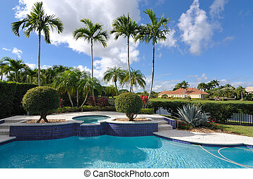 Pool - A luxury pool in a neighborhood in Florida.