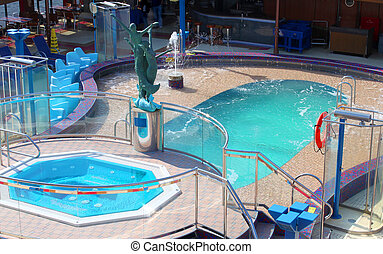 Pool and hot tub on cruise ship - Small swimming pool and...