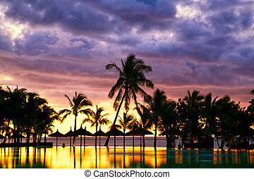 Mauritius sunset - Pool and palm trees silhouetted against...