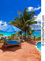 Pool at tropical beach - Seychelles