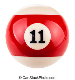 Pool ball eleven - a single pool or snooker ball isolated...