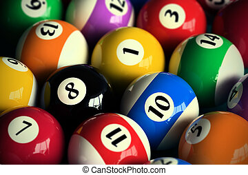 Pool balls - 3D rendering of colorful pool balls (shallow...