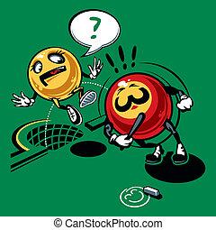 Pool balls - Billiards balls. Comics drawing. Vector...