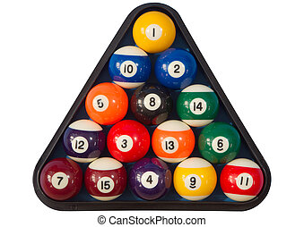Pool balls isoalted. - Spots and stripes pool balls triangle...