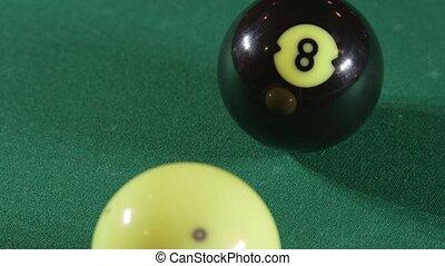 Pool balls on billiards game table