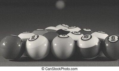 Billiard game on pool table