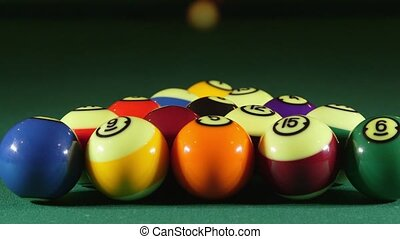 Pool balls on billiards game table - Billiard game on pool ...