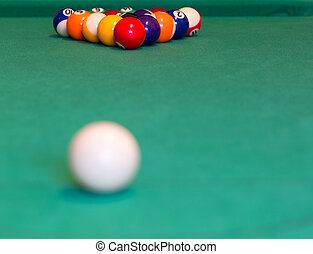 Pool balls on green baize table