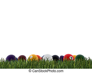 pool balls on green grass