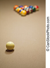 pool balls on pool table