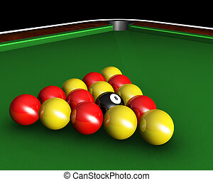 Pool Table Balls Scattered 3d render of pool ball...