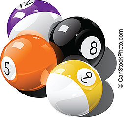 Pool balls - Vector illustration of pool balls over white...