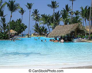 swimming and enjoying the pool in the sun