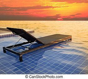 pool bed and dusky sky sun set
